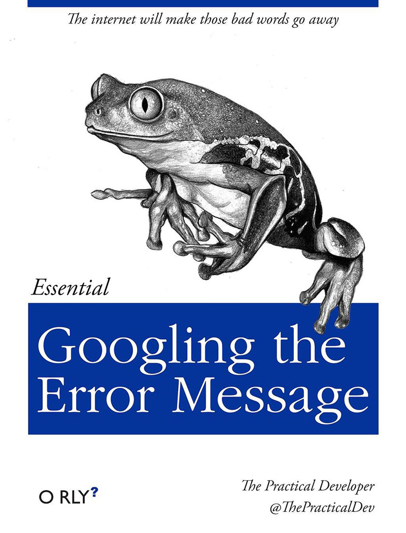 O'RLY parody cover by Ben E. C. Boyter: Googling the Error Message